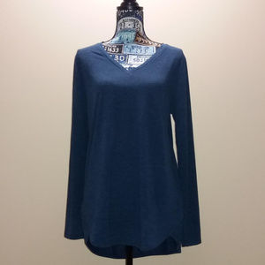 LOFT Navy Blue V Neck Long Sleeve Top